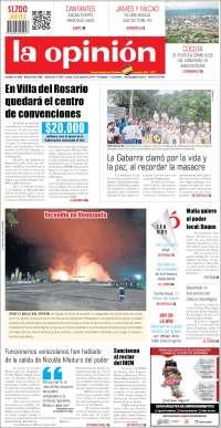 PRIMERA PAGINA DE LA OPINIÓN DE COLOMBIA