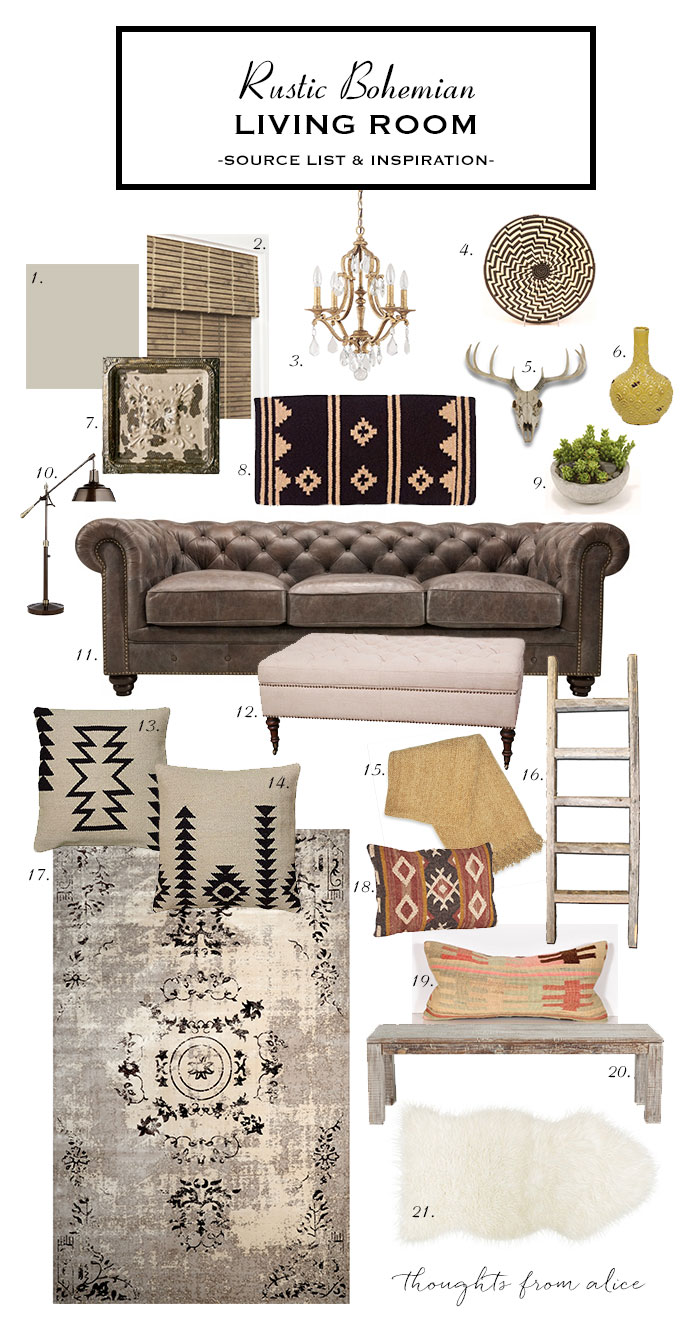 How to create a rustic bohemian living room source list for Room decor list