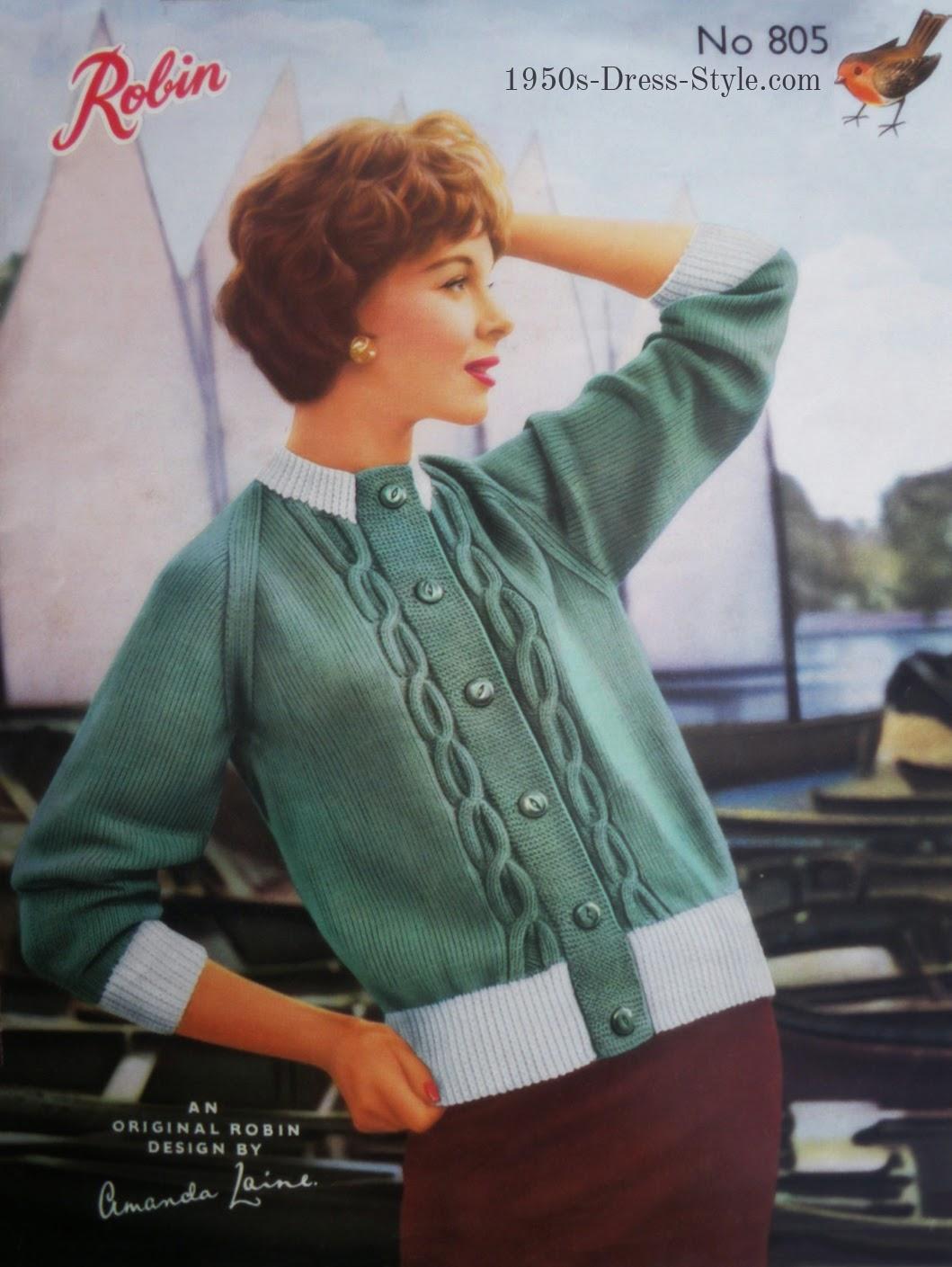 Beautiful 50s Knitting Patterns Illustration - Sewing Pattern for ...