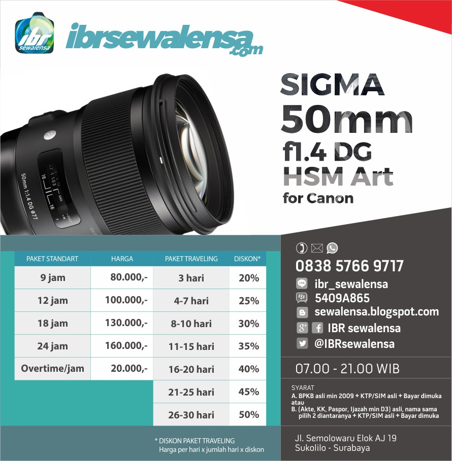 SIGMA 50mm f1.4 DG HSM Art for Canon SEWA RENTAL KAMERA LENSA