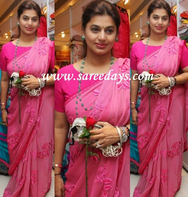 Latest saree designs pinky reddy in pink georgette saree checkout pinky reddy in pink georgette saree with self embroidery designs and paired with matching half sleeves blouse with wide open neck pattern altavistaventures Image collections