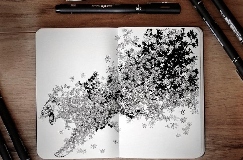 14-Leaves-Joseph-Catimbang-Pentasticarts-Metaphysical-and-Surreal-Doodle-Drawings-www-designstack-co