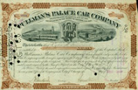Pullmans Palace Car Company New York Stock Certificate no. 16921, Pullman Company Archives, Newberry Library