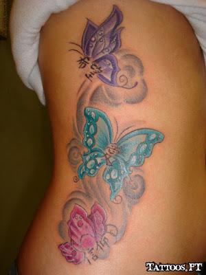 de Tatuagens Borboleta na Costela
