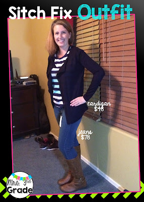 Stitch Fix jeans and cardigan - birthday box reveal