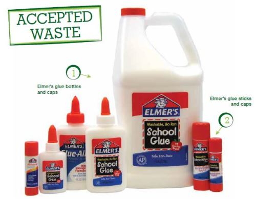 Earn money for your school by recycling Elmers glue sticks and glue bottles