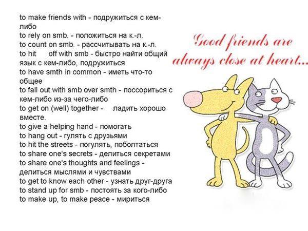 Английские выражения на тему дружбы