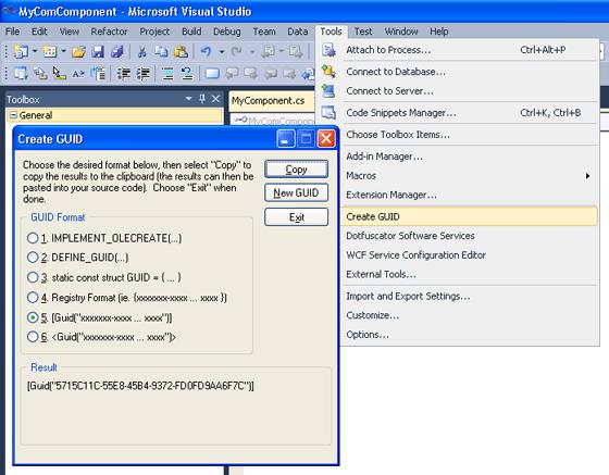 Create GUID Dialog Box