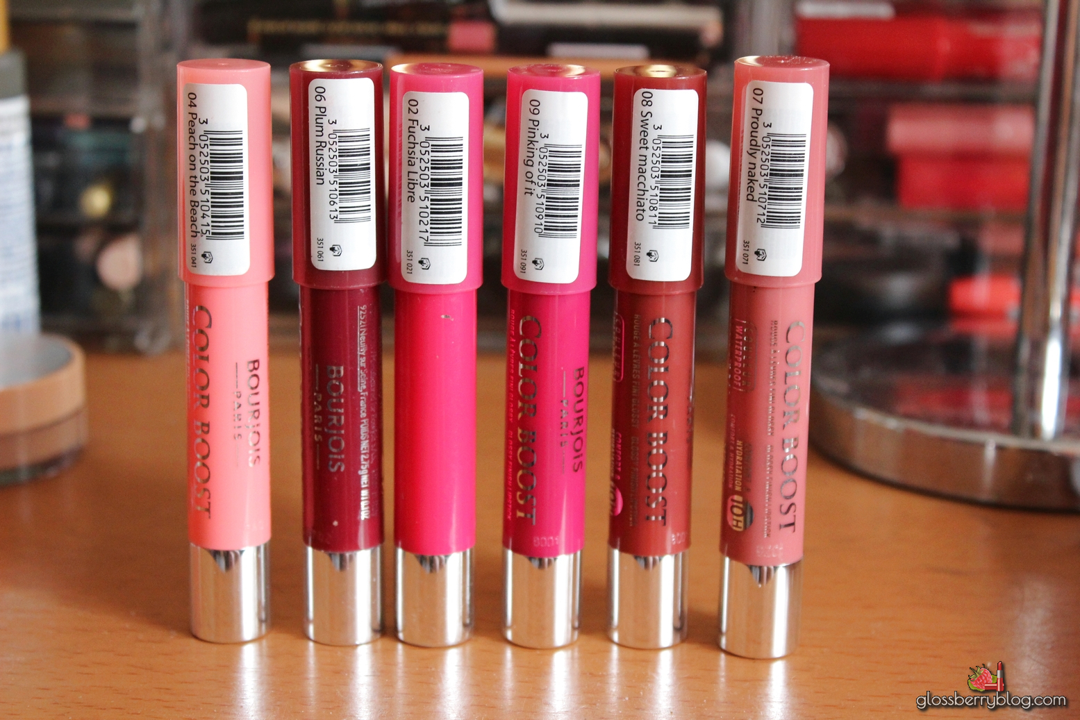 Bourjois Colour Boost Lip Crayon  - Proudly Naked, Sweet Machiato, Pinking Of It 09 08 07 review swatches comparison fuchsia libre new colors stain glossy chubby swatch recommendation המלצה צ'אבי בורז'ואה בורג'ואה שפתון בלוג איפור וטיפוח Glossberry blog גלוסברי peach on the beach plum russian