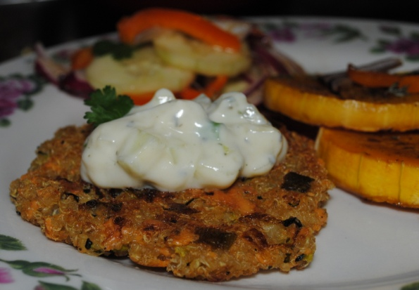 Likes to Play With Her FoodQuinoa Burgers with Tzatziki Sauce