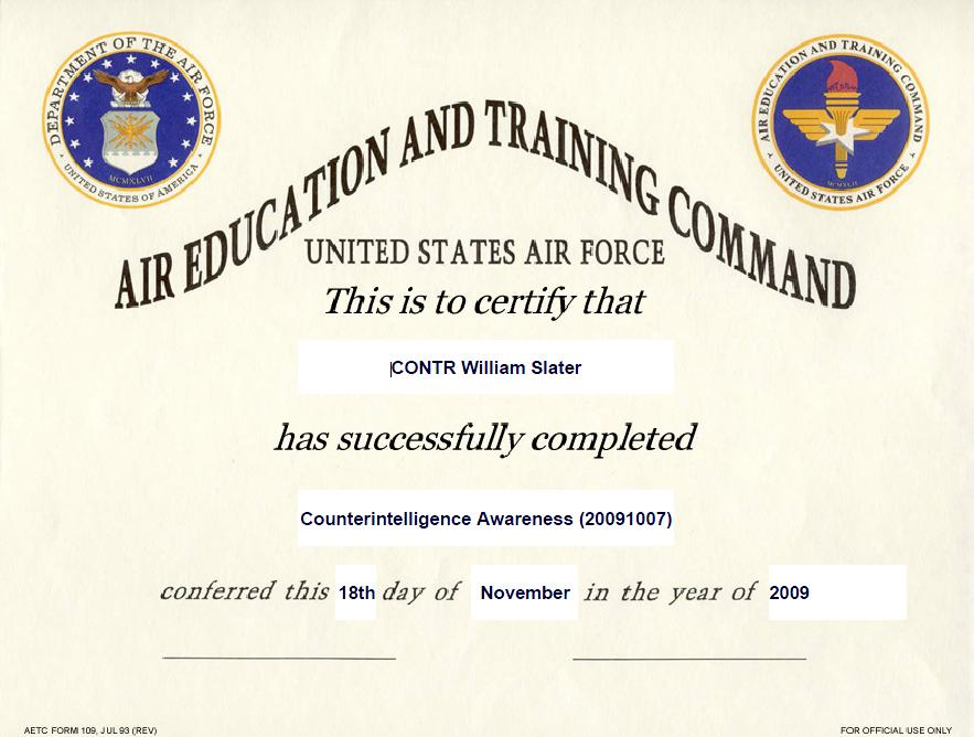 Counterintelligence%2BAwareness%2B Training Certificate from USAF and DOD Training Program for William Slater 2009 1118 Top Result 60 Beautiful Air force Certificate Of Appreciation Template