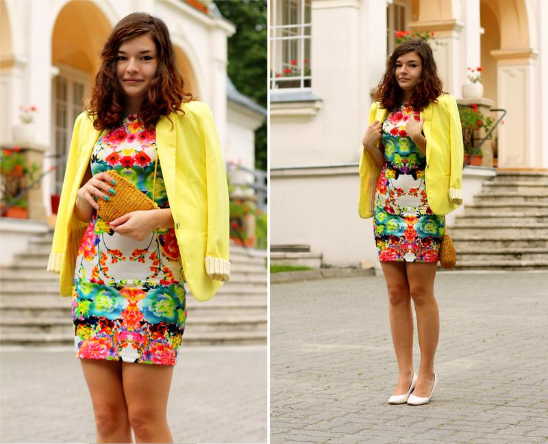 sukienka w kwiaty cytrynowa marynarka elegancka sukienka