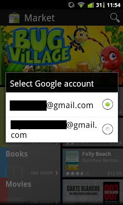 Ganti Google Account di New Android Market