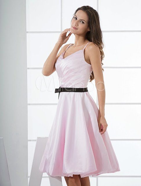 China Wholesale Clothes - Pink Spaghetti Pleated Sash Satin Graduation Dress