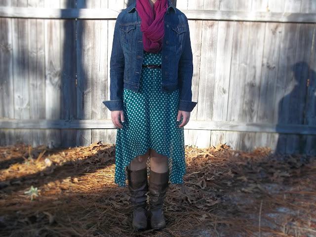 green polka dot high low dress brown boots plum belt plum scarf jean jacket dressember outfit human trafficking