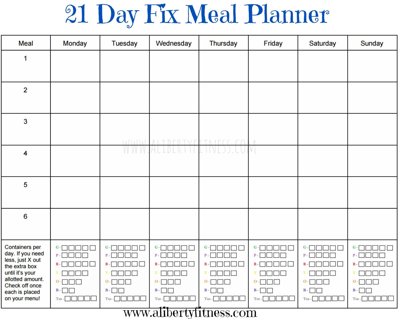 21 Day Fix Meal Planner And Grocery List  Free Menu Planner Template