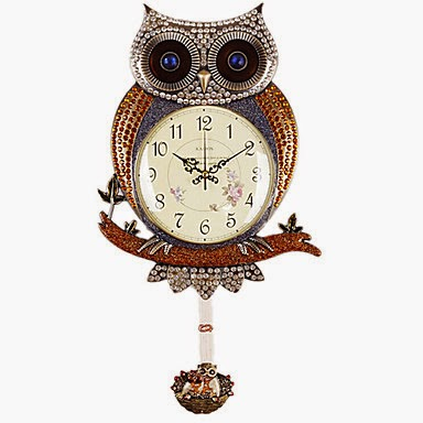 Reloj con péndulo Búho Dorado