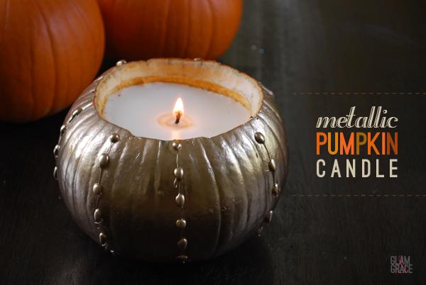 DIY Metallic pumpkin candle