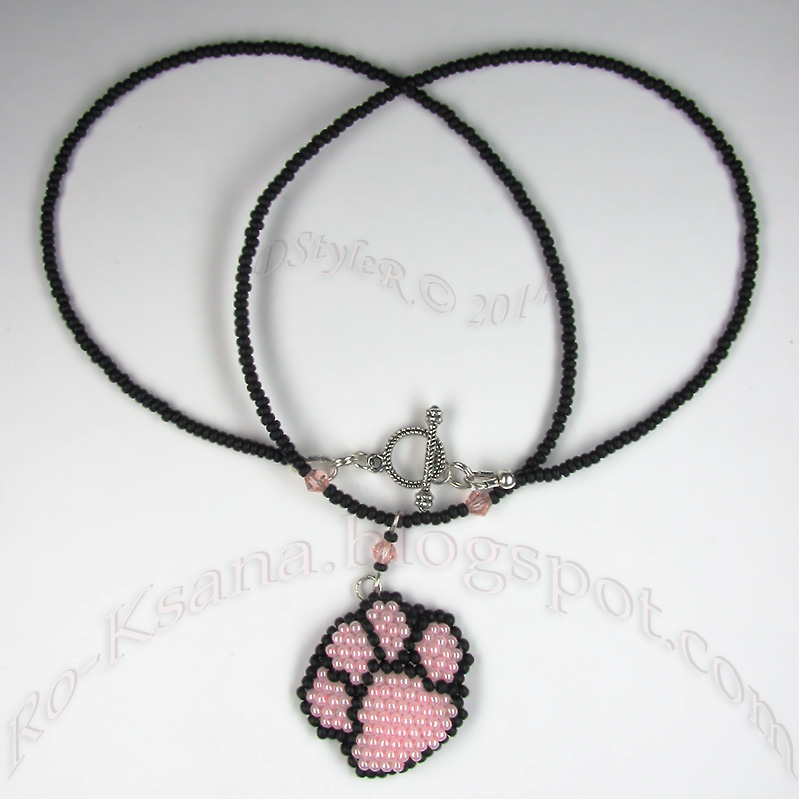 Beaded pendant for ;) kitty lovers Мозаичное плетение