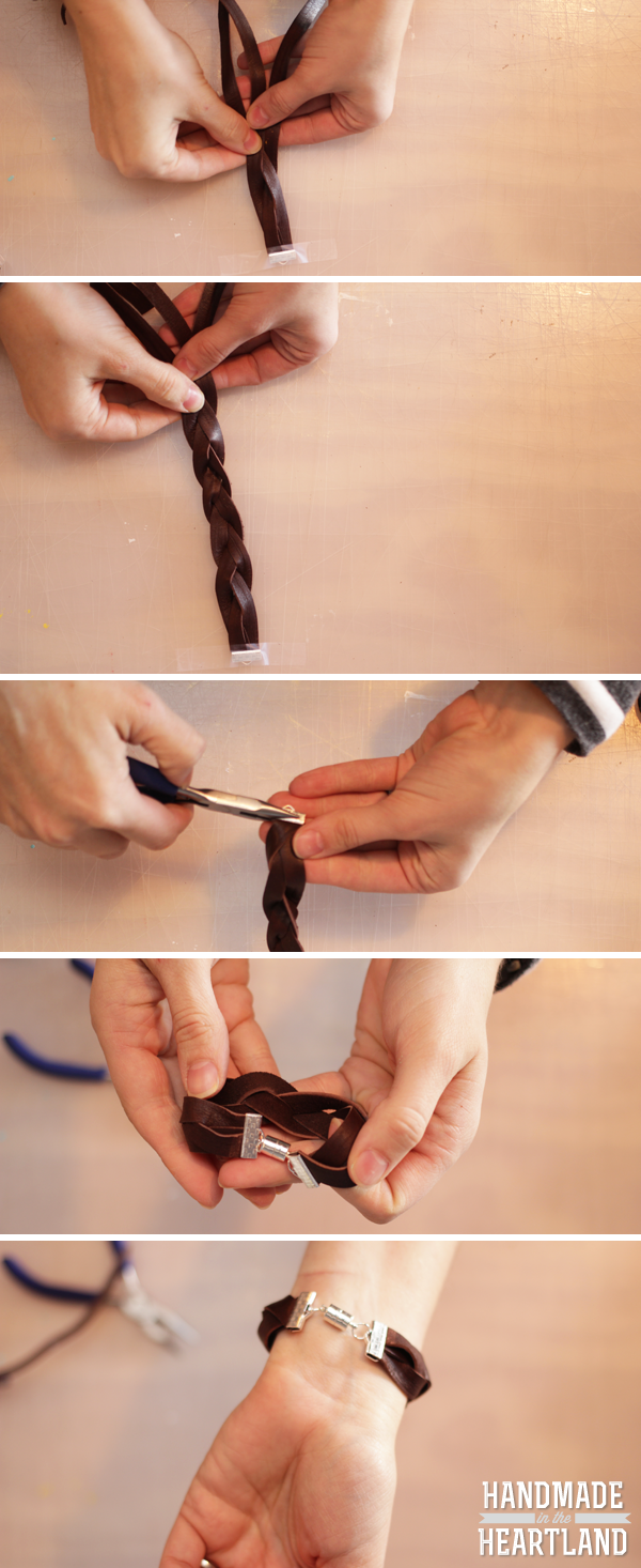 DIY Leather Braided Bracelet