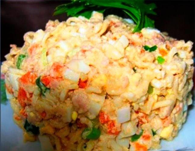 Салат «Дальневосточный» с печенью трески