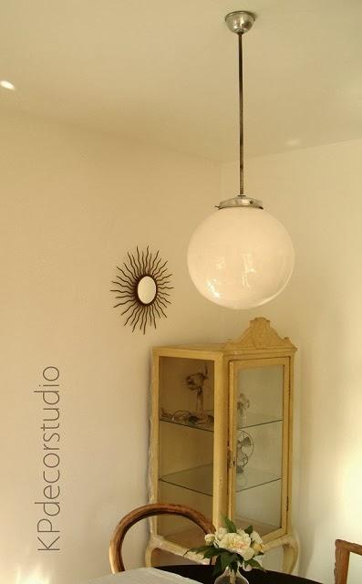 Lámpara de techo redonda de los años 50 estilo vintage