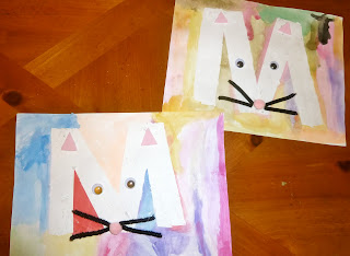 kids crafts: abc fun m is for mouse – tape resist letter art