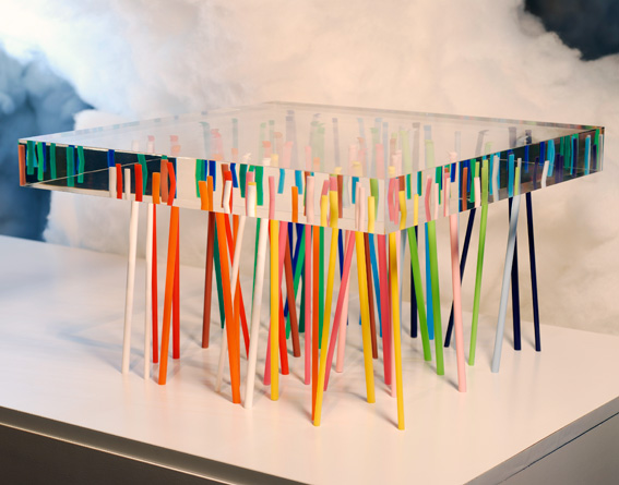This Amazingly Unique And Gorgeous Table Is Made Out Of 56 Slender, Colored  Acrylic Sticks, Embedded Randomly Into A Piece Of Transparent Acrylic.