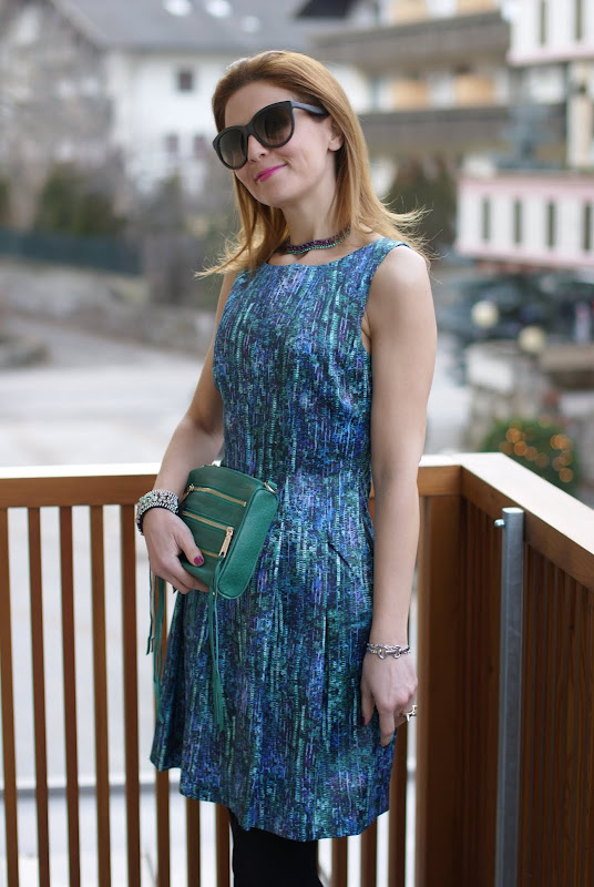 Zara party dress, sequin print dress, Miu Miu pumps
