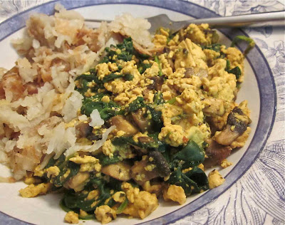 tofu scramble and hash browns