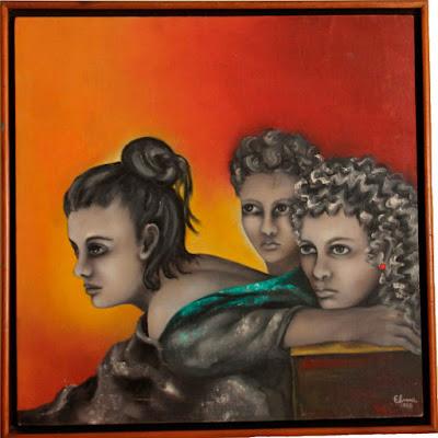 Mulheres olhando para um  mesmo ponto - óleo s/tela - Elma Carneiro