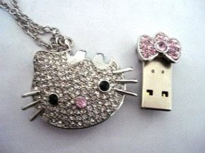 Crystal Hello Kitty Necklace Pendrive