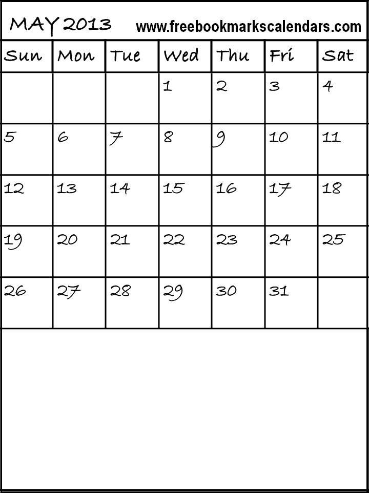 Blank Calendar Template 2013