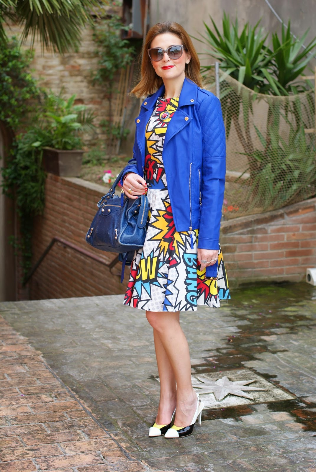 Morgan blue biker jacket, Love Moschino comics dress, Loriblu heels, Balenciaga city blue, Fashion and Cookies, fashion blogger