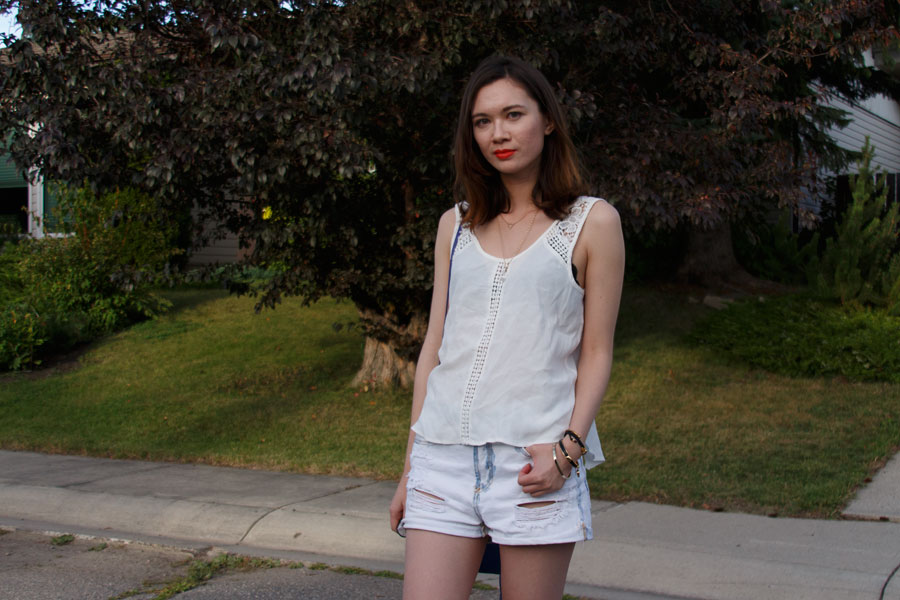 white after labor day, Summer fashion, nasty gal, botkier legacy mini, zara, outfit, labor day outfit, personal style, lace tank, boyfriend shorts