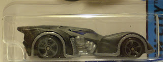 Close up of Hot Wheels HW City 2015 Batman Arkham Asylum Batmobile still in package