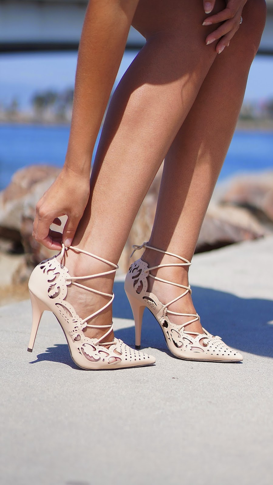 Little White Dress, White Summer Dress, Louboutin Inspired Laser Cut Heels, Flower Hair Accessorie