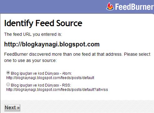 blogger feedburner ekleme