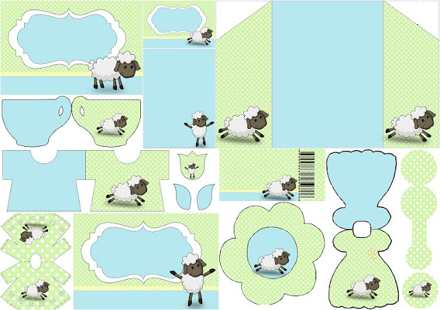 Cute Sheep in Light Blue and Green: Free Printable Invitations.