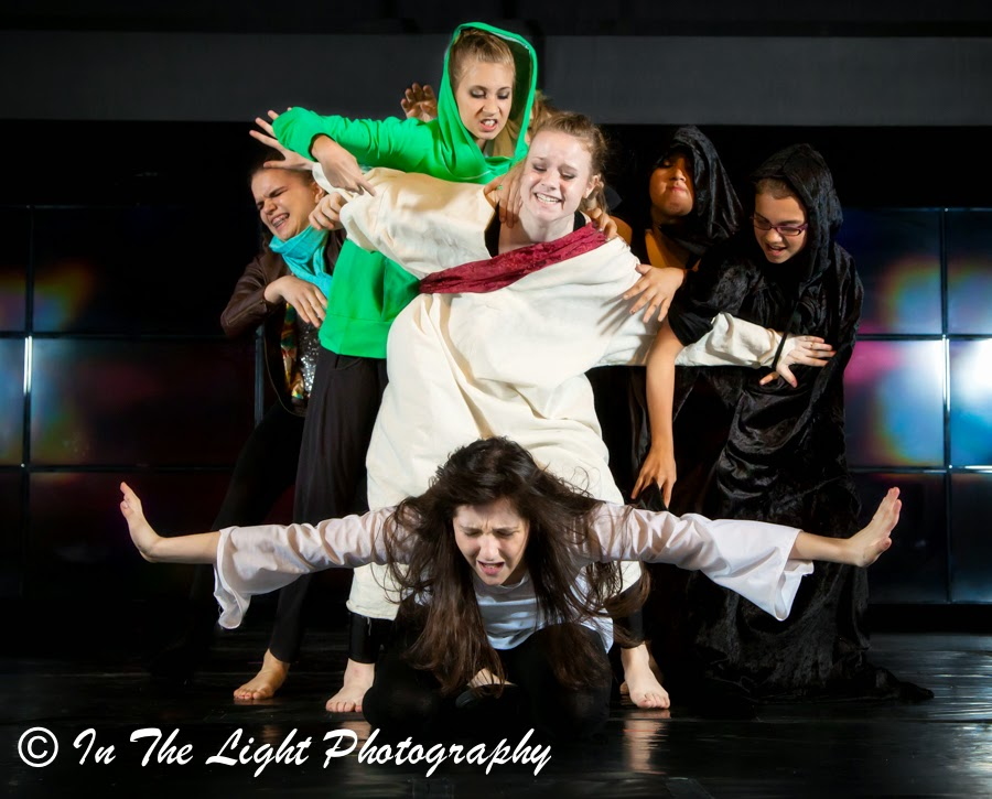 Performance Art Dance: Man repents, Jesus the Savior Rescues Man, Prayer, Power of Prayer, Jesus Holds back the enemy while man prays, Experience Arts School, In the Light Photography