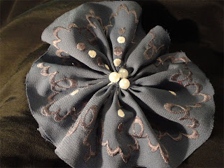 embroidered gathered fabric flower