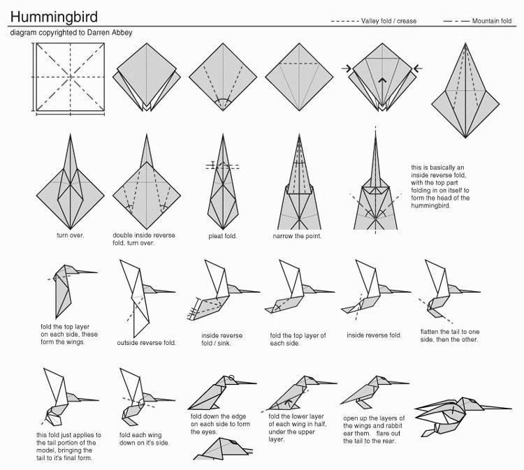 Hummingbird Origami Step by Step