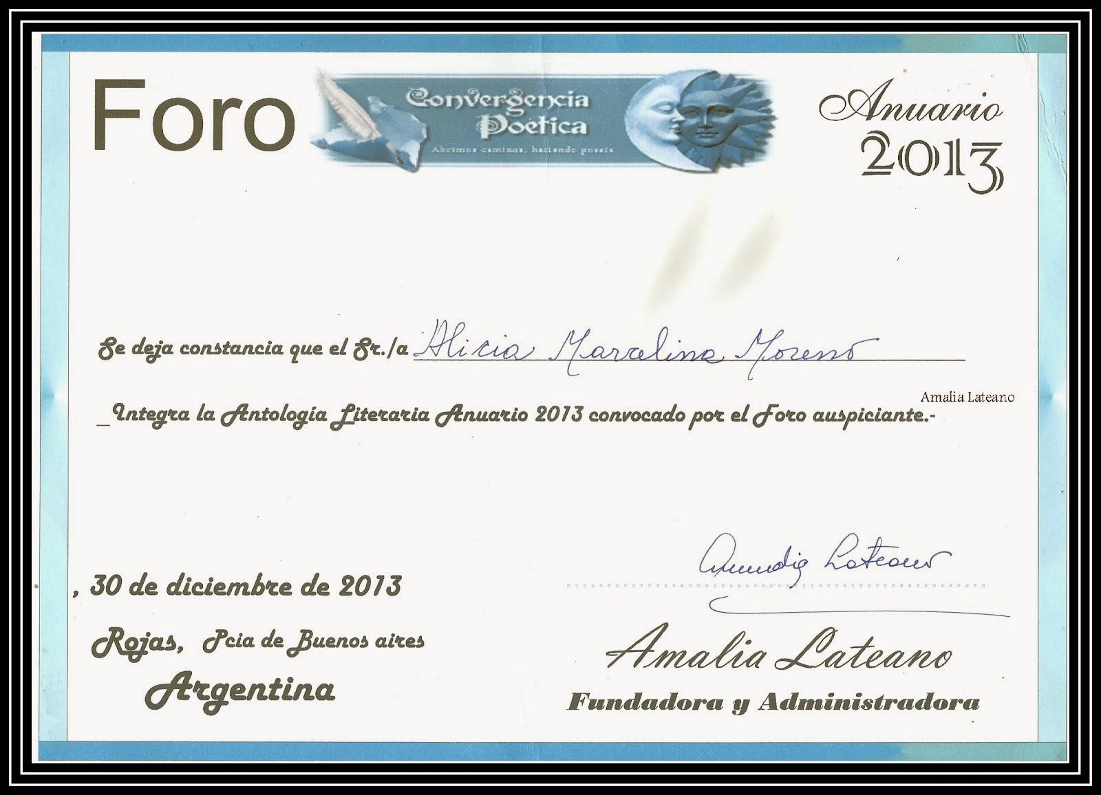 Diploma participación antología 2013