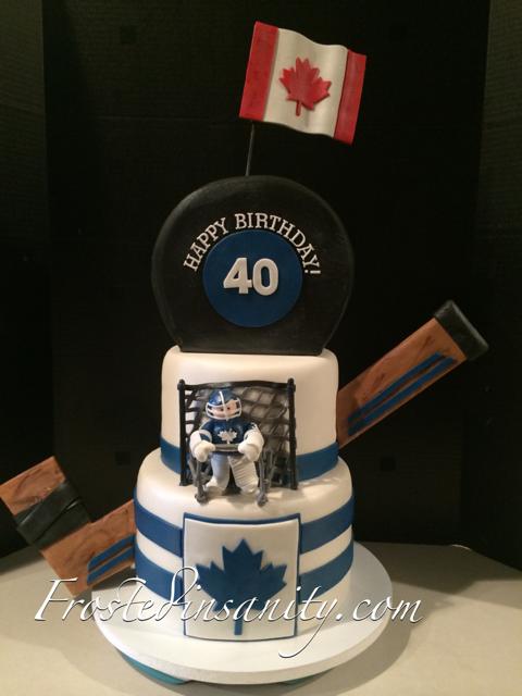 Frosted Insanity 40th Birthday Hockey Cake