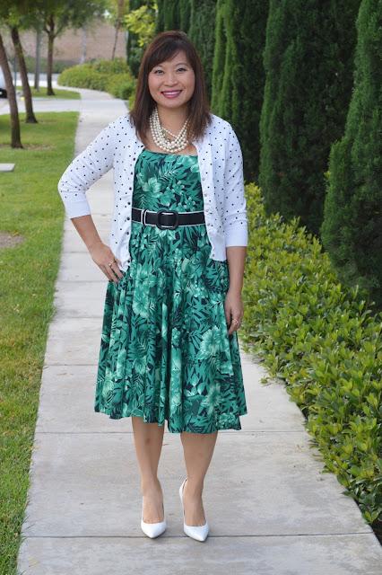 Zara Palm Print dress, Ann Taylor Polka Dot cardigan, Charles David Sway II Pump, pattern mxing