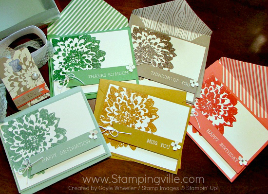 Photo image of handmade all occasion greeting card set.