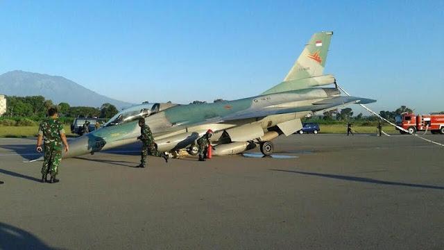 Jet tempur F-16 tergelincir di Lanud Iswahyudi