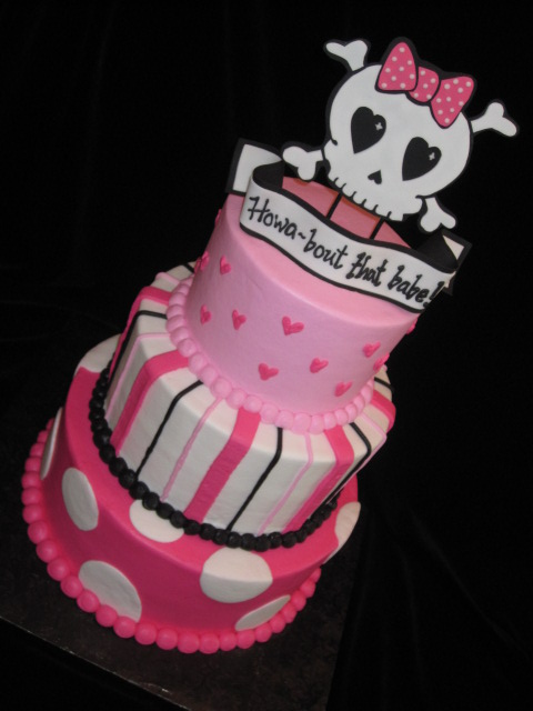 Girly Skull Cakes http://icravecake.blogspot.com/2011/06/girly-skull-and-cross-bones.html