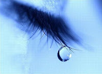 tear about to fall from eye lashes