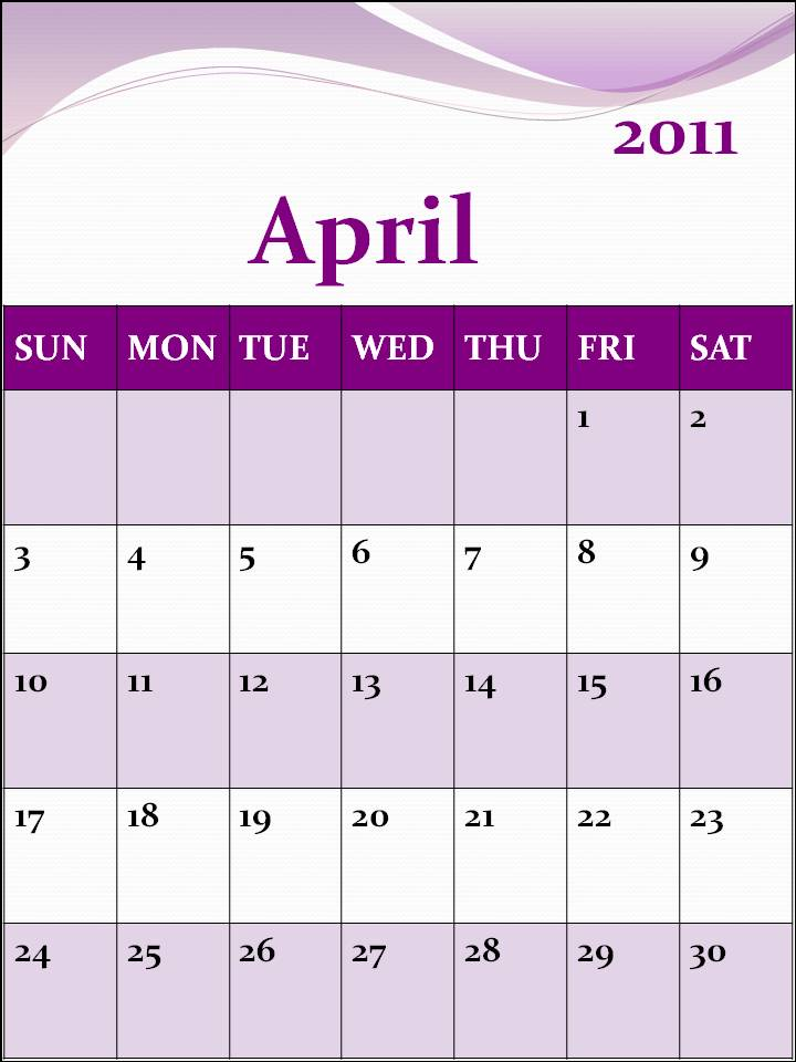calendar april 2011 with holidays. CALENDAR TEMPLATE APRIL 2011
